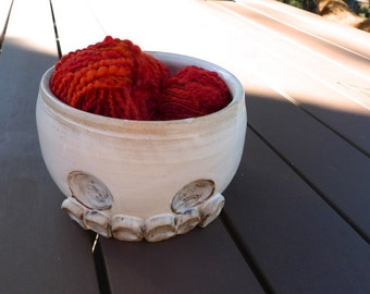 Hand thrown, stoneware, skull yarn bowl
