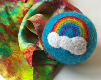 Waldorf Inspired Comet Ball: Over the Rainbow Blue (All Natural Wool and Silk Toy)