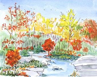 Original Watercolor Painting - Catskills Creek