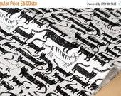 Japanese Fabric so many cats - black, white - 50cm