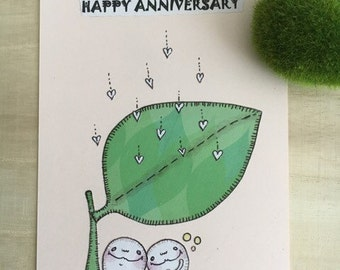 Origami Paper Collage Illustration - Ugly Cute Handmade Card - Happy Anniversary - Whimsical art, OOAK