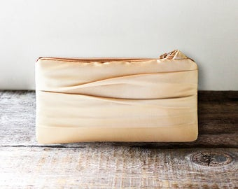 SALE Gold Satin Bridesmaid Clutch, Simple Wedding Clutch- Personalization Option Available