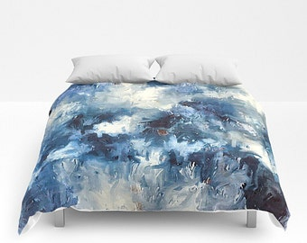 Art Bedding, Blue And White, Queen Comforter, Modern Bedding, Modern Bed Cover, King Comforter, Watercolor Bedding, Queen Bed Cover