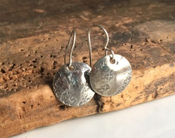 Hammered Silver Filled Disc Earrings, Textured Earrings, Silver Disc Earrings, Round Earrings, Dangle and Drop Earrings, Etsy, Etsy Jewelry