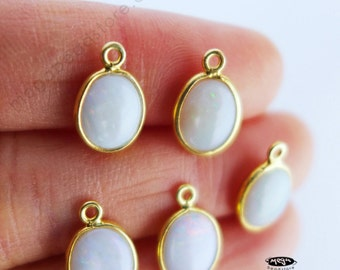 4 pcs 9mm x 7mm Natural Opal Oval Drops Gold Bezel Charms F434