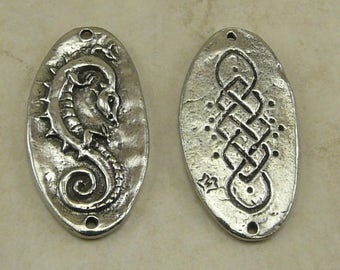 Celtic Dragon Green Girl Link Charm Pendant Fantasy Creature Irish Knot work Spiral 2 Hole American Artist Made Lead Free Pewter Silver 473