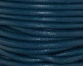 "2mm Round Iris Blue Leather Lace Cord - 2mm 3/32"" Diameter Dark Teal Aqua Craft Jewelry Bracelet Wrap Necklace - I ship Internationally"