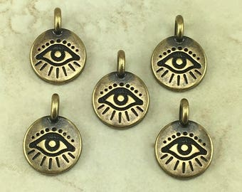 Evil Eye Round Stamp charm > Curse Protection Amulet Talisman Greece Egypt - Brass Ox Plated Lead Free pewter I ship Internationally 2504