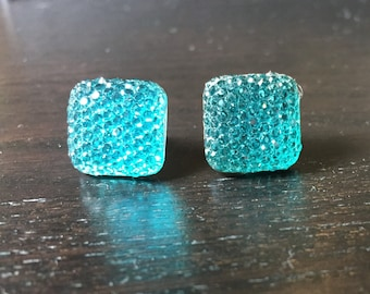 Sparkling Square Acrylic Turquoise Blue Post Earrings
