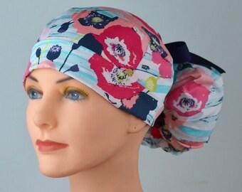 Scrub Hats // Scrub Caps // Scrub Hats for Women // The Hat Cottage // Ponytail // Pastel Poppies