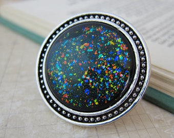 Prism Collection: Black Opal - XL Color-shifting Iridescent Glitter Adjustable Ring