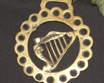 Vintage or Antique Celtic Harp, Horse Brass  - For Bridget and Music - Folk Magic, British, Pagan, - Rare