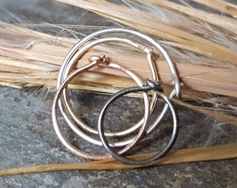 24g nose ring--  sterling silver, 14k solid gold or niobium hoop-- primitive series-- handmade by thebeadedlily