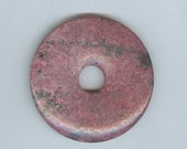 Cyber Monday Sale 50mm Dark Pink And Black Rhodonite PI Donut Pendant  8106B