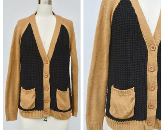 beige and black GRANDPA cardigan / slouchy sweater / s-m