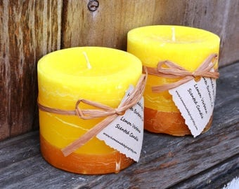 SALE: Pair of Lemon Verbena Scented Small Cylinder Candles