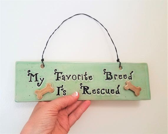 Handmade Pottery - Ceramic - Animal Rescue Sign - Animal Rescue - Animal Lover Gift - Stoneware - Dog Rescue - Wall Hanging - Dog Art