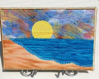 Beach Sunset -  Fabric Postcard - Beach Vacation - Beach Sunrise - Landscape Art - Quilt Art - Travel Keepsake - Coastal Art - Postcard Art