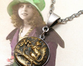 1800s SQUIRREL BUTTON necklace, Victorian Chipmunk on silver chain. Antique button jewellery.