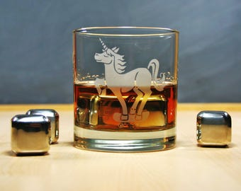 Unicorn Skateboarder Lowball Glass whiskey glass