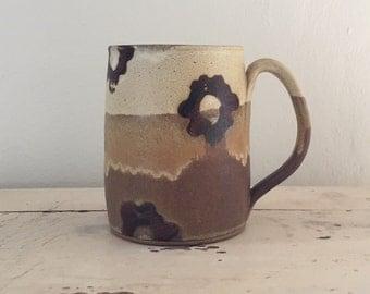 Mod Floral mug, coffee mug, tea cup, handmade pottery mug