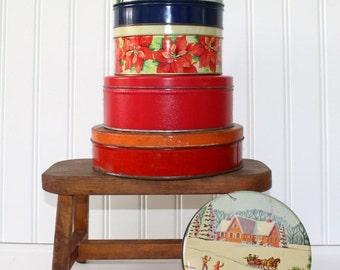 HOLIDAY SALE - Vintage Christmas Tins - Set of 6 - Storage - Gift Boxes