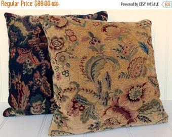 BIG SALE - Tapestry Pillows - Navy Gold Botanical - Feather Inserts - 18 Inches Square - Pair