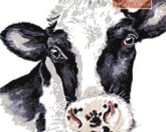 Friesian cow cross stitch kit