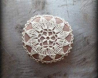 Lace Stone, Crocheted, Ecru Thread, Table Decorations, Original, Handmade, Home Decor, Intricate, Star, Monicaj