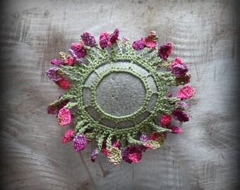 Flower Stone, Forever Bloom, Crocheted Lace, Folk Art, Small, Original, Handmade, Home Decor, Collectible, Monicaj
