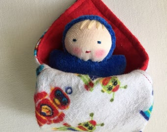 baby boy, small doll, germandolls, Waldorf dolls,  Waldorf toy, sibling gift, baby shower gift, brother gift, blue baby