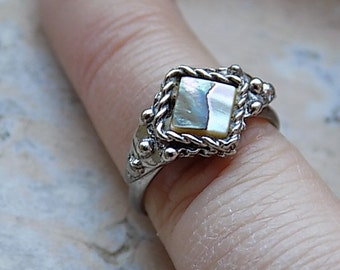 FREE SHIPPING Vintage Abalone Shell Silvertone Ring - Adjustable Band