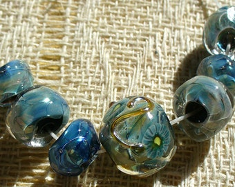 Handmade Lampwork Glass Beads by Catalinaglass SRA  Icy Blue Nuggets