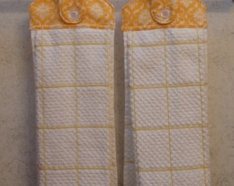 SET of 2 - Hanging Cloth Top Kitchen Hand Towels - YELLOW Damask Print, Larger White and YELLOW Towels