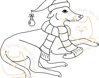 Digi Stamp Instant Download. Wrapped up Greyhound - Knitty Kitty Digis No.44
