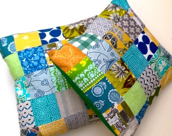 Pair of Patchwork Cushion / Pillow Covers - Contemporary Greens / Blue / Yellow