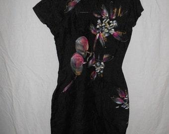 SALE 60's 70's vintage Black floral flowers  hand painted long dress      Asian     XS
