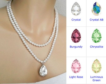 Bridal Statement Necklace,  Bridal Jewelry, Swarovski Pearl Wedding Necklace, Bridesmaid Jewelry, Crystal Drop, Pearl Bridal, Vintage, Rose,