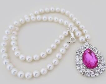 Swarovski Pearl and Crystal Necklace Bridal Statement Necklace Fuchsia Pink Wedding Necklace Rhinestone Drop Hot Pink Wedding Vintage Style