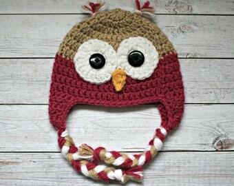 Crochet Owl Hat // Size: 3-6 Months