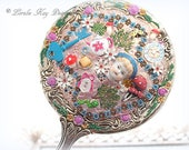 Alice In Wonderland Hand Mirror Alice Theme Assemblage Silver Vanity Mirror One-of-a-Kind Mixed Lorelie Kay Original