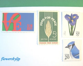Vintage Postage Stamps Bright Colors, Flowers - Blue Jay - Love - Wheat Stamps, Mail 20 Wedding Invitations 2 oz 70 cent nature stamp unused