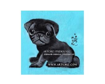 Black PuG Art. Black Pug Illustration. Art. Print. Seafoam. Pug Portrait. Pugnation. Black Pug Puppy.  Signed by the Artist - Coffee Bean