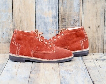 1970s, Suede Shoes, Us 9, Uk 7, Eu 40, Woman Shoes 9, Rust Suede Shoes, Retro Shoes, Fur Lined Shoes, USA MADE, Leather Tie Shoes