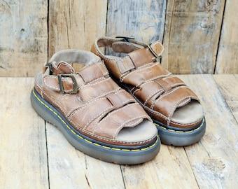 Dr Marten Sandals, Us 8, UK, Eu, Fisherman Sandals, Leather Sandals, Brown Leather Sandals, MADE in ENGLAND,