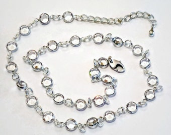 "Sparkling Swarovski crystal 6mm channel necklace 18"" clear crystal silver plated"