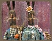 BRAND NEW! The Ohares primitive rabbit  bunny dolls E-PATTERN