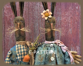 BRAND NEW! The Ohares primitive rabbit  bunny dolls E-PATTERN