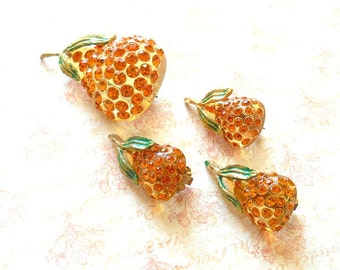 Vintage Forbidden Fruit Lucite & Rhinestone Pear Brooch, Clip-on Earrings - Made in Austria, Topaz Swarovski Crystal, Amber Lucite Fruit Pin