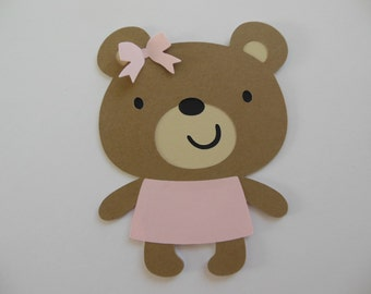 Teddy Bear Cutouts - Girl Birthday Party Decoration - Girl Baby Shower Decorations - Set of 1